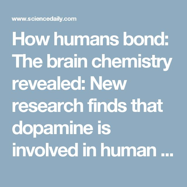How humans bond: The brain chemistry revealed: New research finds that dopamine is involved in human bonding -- ScienceDaily