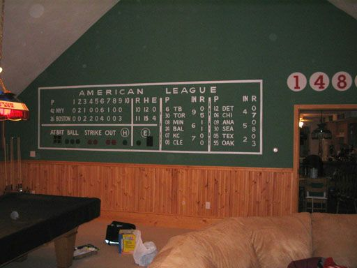 Green monster scoreboard mural basement pinterest for Baseball scoreboard wall mural