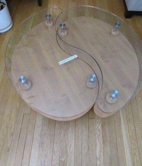 "Yin Yang  Solid Wood and Glass Nesting Coffee Table End Table Set 40""  #CoffeeTable #YinYang #dandeepop #Furniture #Table #NestingTable #EndTable #SideTable #Wood #Glass"