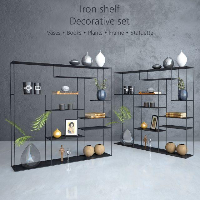 Iron shelf with decorative set