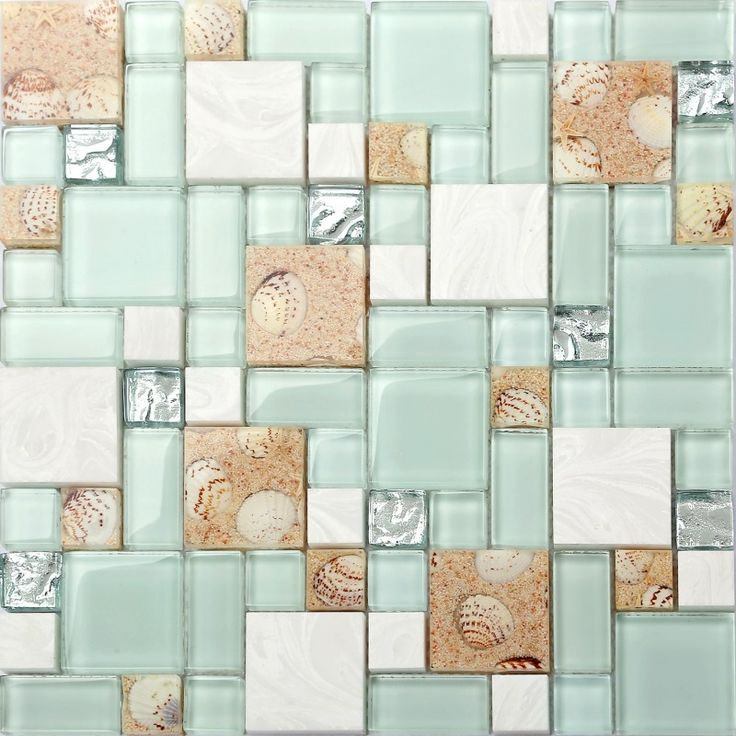 TST Green Lake Glass Tile Beach Style Mother Of Pearl Inner Acrylic Design Interior Backplash Wall Ideas TSTNB02