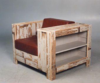 Lovely Reclaimed Timber Chair With Bookshelf Design Ideas