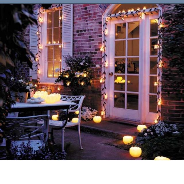 Landscape Lighting Near Me: Pretty Light Garlands Around Door And Window