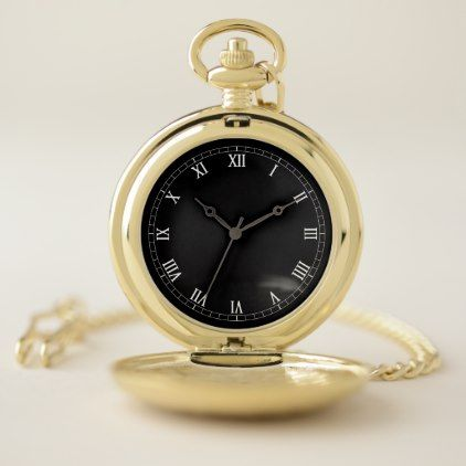 Elegant Roman Numeral Gold Pocket Watch. Pocket Watch - stylish gifts unique cool diy customize