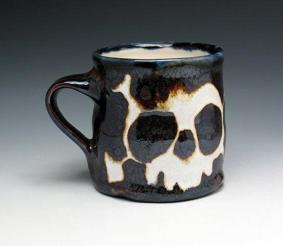 Skull & Crossbones Coffee Cup by NicolePangasCeramics on Etsy, $30.00