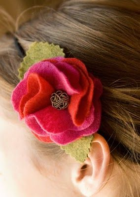 Felt craft tutorial: Ruffled felt rose headband, by Jessica of Little Birdie Secrets blog (Feb. 2011). While presented as an elastic headband project, you could also use such a flower as a hair clip, brooch, bag or pillow embellishment, or any number of other applications.