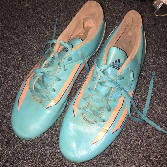 adidas f10 soccer cleats blue and orange used for two seasons Adidas Shoes Sneakers