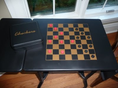 Joy Beadworks: Typewriter Table Makeover - painted flat black and made into a games table...Joy Beadwork, Games Tables, Checkers Gam Tables, Games Boards, Typewriters Tables, Tables Makeovers, Tables Turn, Metals Typewriters, Cheker Chess Games