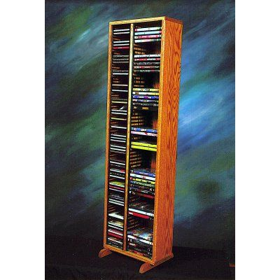 The Wood Shed Solid Oak 80 CD and 64 DVD Media Tower with Individual Locking Slots Dark Oak - 211-4 CD/DVDD