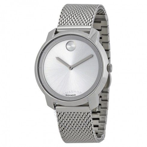 Movado Bold Silver Dial Stainless Steel Mesh Ladies Watch 3600241