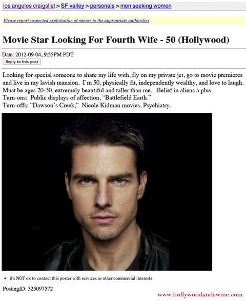 Church of Scientology Turns to Craigslist to Find New Wife for Tom Cruise