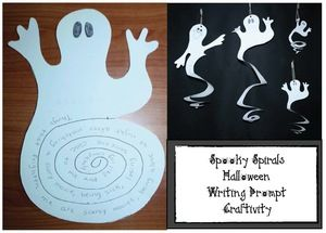 "Halloween activities:  FREE ""Spooky Spirals"" ghost craft writing prompt.  Perfect for party day!"
