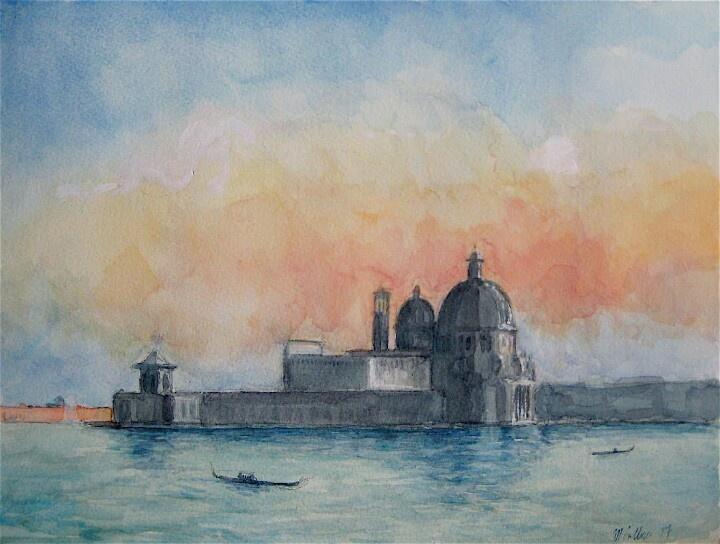Santa Maria delle Salute, watercolor, 20cm x 30cm, by Matthew James Collins