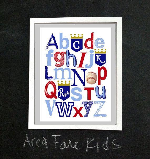8 x 10 KC ROYALS baseball ABC Nursery Art Print by AreaFareKids, $15.00.