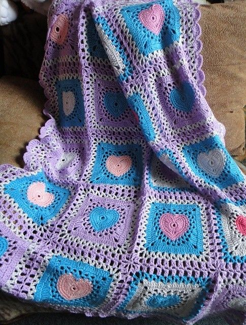 Free Crochet Pattern Lap Blanket : Hand-Knitted Square Crochet Heart Blanket Pattern ...