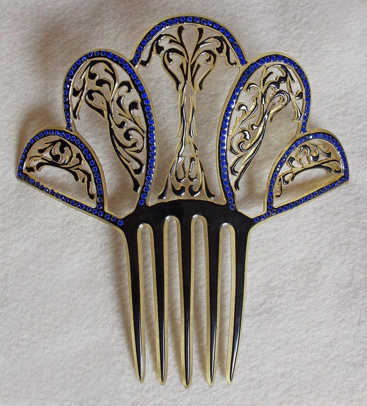 Art Deco Hair Combs | Fabulous ART DECO Huge Celluloid & Rhinestone Vintage Estate Hair Comb