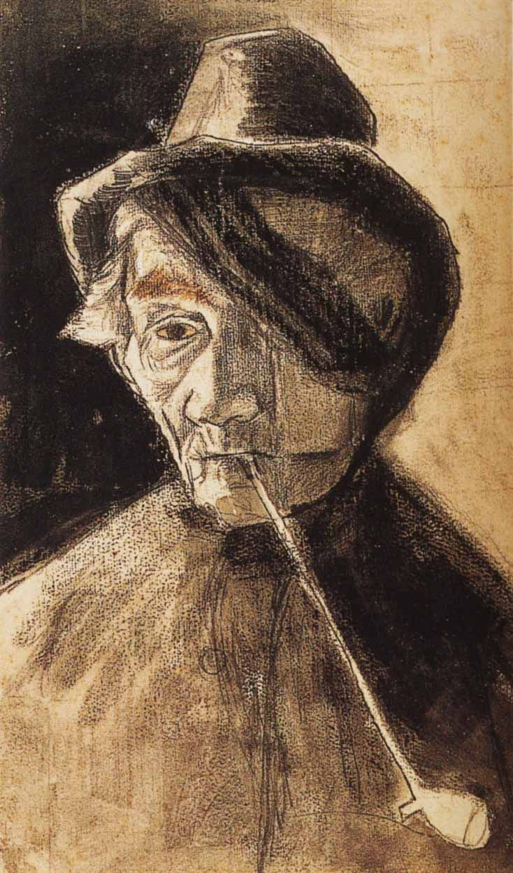 Vincent van Gogh: Man with Pipe and Eye Bandage, 1882 | Lithographic, crayon and graphite | 45x27.5 cm | Otterlo, Collection Kröller Müller Museum.