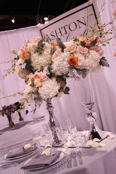 Our tablescape for the Total Wedding Show featuring peach, coral and grey colour scheme