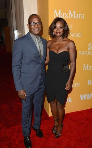 Viola Davis looks stunning in her black strapless Max Mara cocktail dress