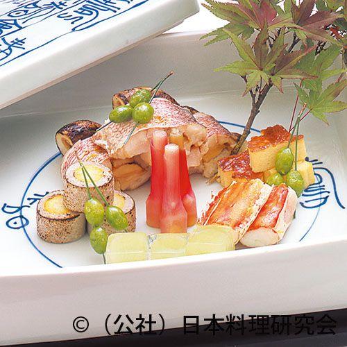 甘鯛松茸鋳込み焼、鱈場蟹雲丹焼、満月蕎麦がき – 日本料理研究会レシピる!