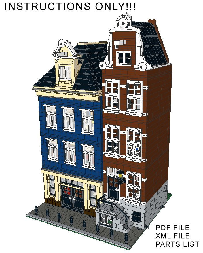 Lego Custom Modular Building Canal Street Houses INSTRUCTIONS ONLY!! 10182 10185 #LEGO