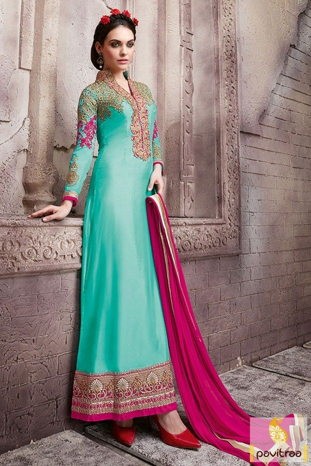 Turquoise Color Long Designer Salwar Kameez #salwarkameez, #straightcutdress more: http://www.pavitraa.in/catalogs/designer-pakistani-suits-dresses-in-india/?utm_source=rn&utm_medium=pinterestpost&utm_campaign=21jun