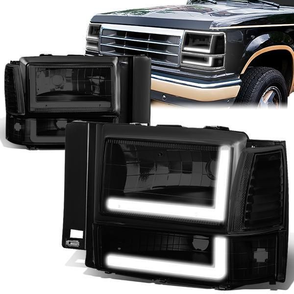91 94 Ford Explorer Led Drl Headlights Bumper Lamp Tinted Housing Clear Corner In 2020 Ford Explorer Headlights Ford