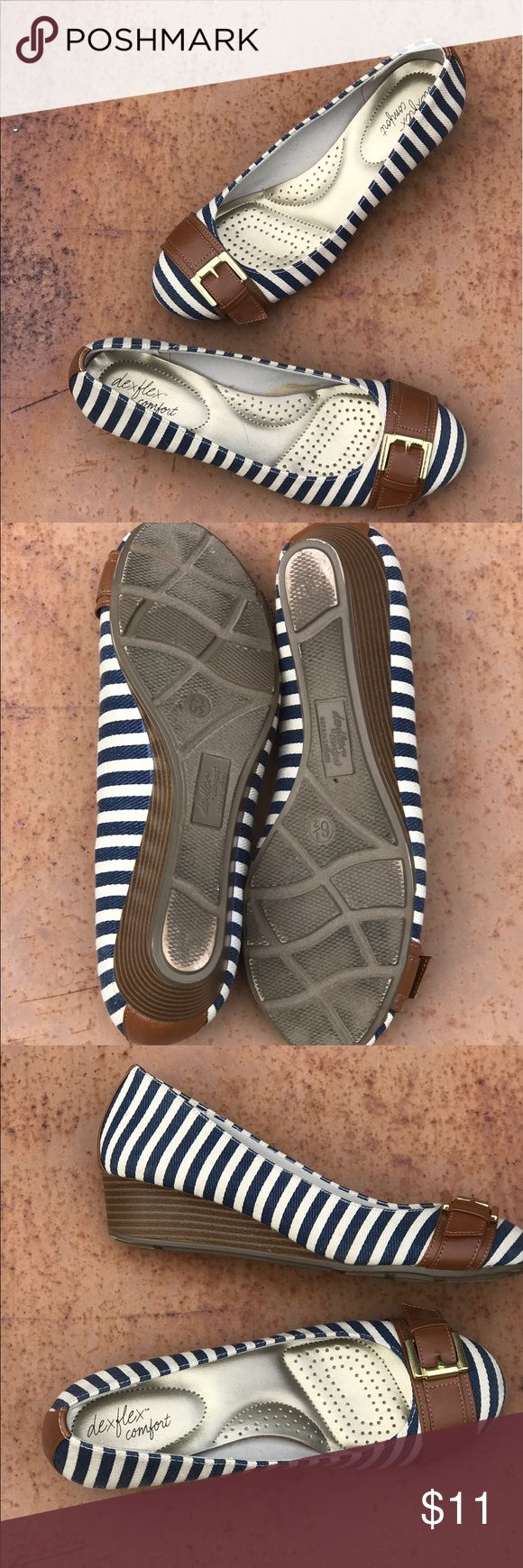 Dex Flex size 6 1/2 wedge shoe. Navy and white striped wedge heel with brown details.        Size 6 1/2. Worn no more than a few times. dex flex Shoes Wedges