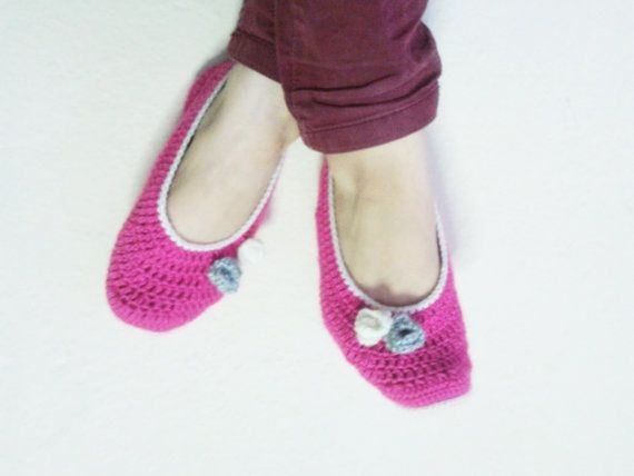 Pink Slippers / flowered slippers / Handmade booties by Iamamother, $20.00