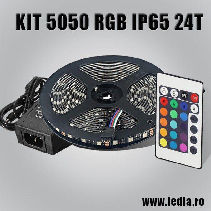 Set banda led 5050 rgb 60 led per metru multicolora plus controller IF (inflarosu) + telecomanda cu 24 taste si sursa de alimentare de 5A