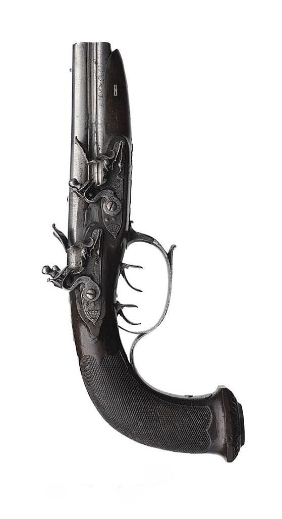 An interesting four barrel flintlock pistol, 18th century. Instead of having a tap action mechanism, this pistol has four separate locks.