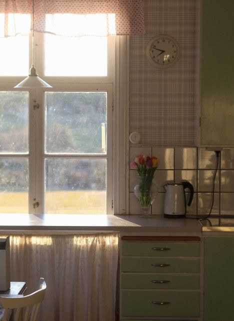 kitchen bathed in evening sun
