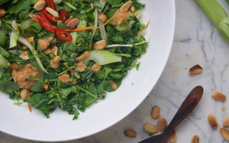 Bleekselderij & boerenkoolsalade met pittige pindadressing Verse bleekselderij en kool vormen een heerlijke combinatie. Pinda zorgt voor wat extra eiwitten in de salade. Een klein beetje rode chili geeft wat meer pit en alle groene groenten en verse kruiden maken deze salade gewoon ontzettend smakelijk. Dit gerecht is ideaal als bijgerecht, je kunt er ook een hoofdgerecht van maken door wat noedels toe te voegen of bruine rijst.