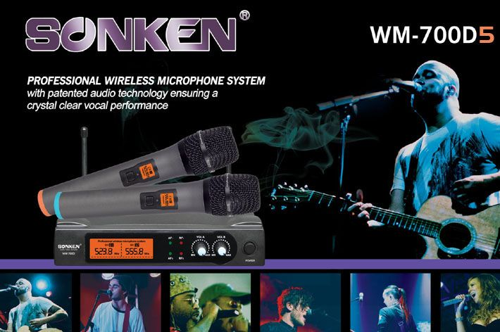 Professional Wireless Microphones with Carry Case available in two frequency sets