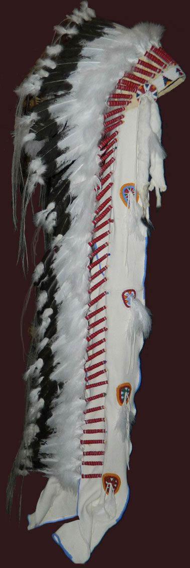 This headdress is slightly different to headdresses that we make as they are usually older than this one and we antique them to look old.