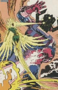 It's small, but wow! Rachel Summers (with the Phoenix Force) fighting and winning against Galactus, Consumer of Worlds.