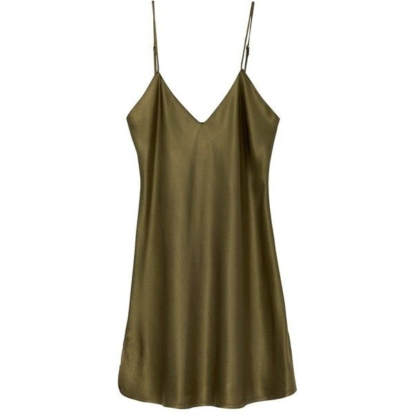 Pre-Order OLIVE MINI CAMI DRESS ($475) ❤ liked on Polyvore featuring dresses, brown camisole, brown cami, v-neck dresses, slip dress and brown dress