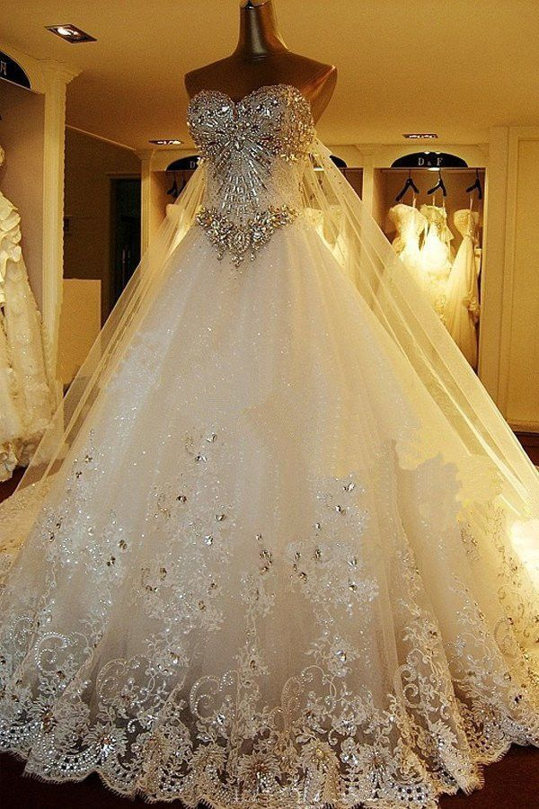 Sparkly Rhinestone Lace A line Wedding Dresses, 2017 Luxurious Long Custom Wedding Gowns, Affordable Bridal Dresses, 17111