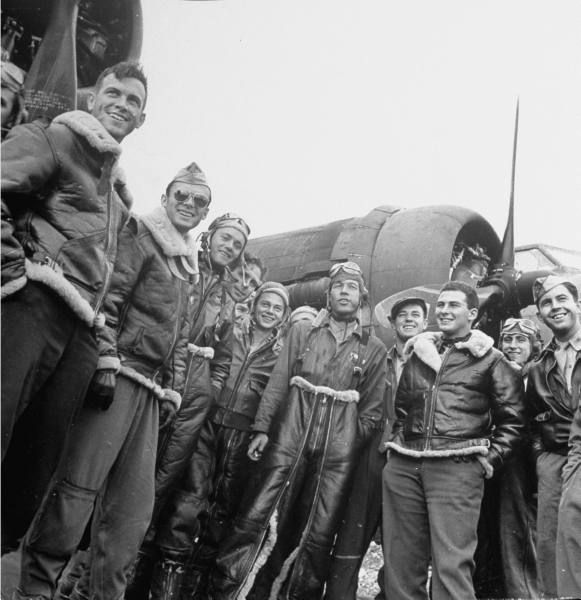8th Air Force Bomber Command - B-17 Flying Fortress crew, wearing B-3 and A-2 flight jackets. Photographed by Margaret Bourke-White