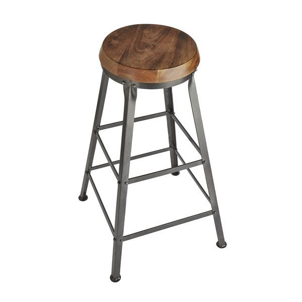 Tall Vintage Solid Wood & Metal Work Bar Stool - 32 inch | Industville