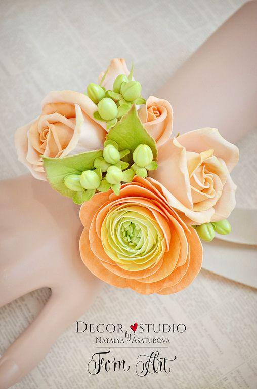 Купить Браслет невесты с цветами фоамирана - браслет, Браслет ручной работы, браслет из полимерной