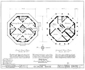Historic American Buildings Survey, survey of the octagon house in Watertown, Wisconsin. Sheet 1 of 5, ground floor and first floor plans. Drawing dated March 28 1935. House completed 1856.