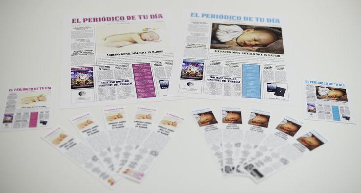 ¿El mejor recuerdo cuando nazca tu bebé? ¡Un periódico personalizado con las noticias que pasaron ese día! ¡Ahora disponible en varios colores! Más información en www.elperiodicodetudia.com