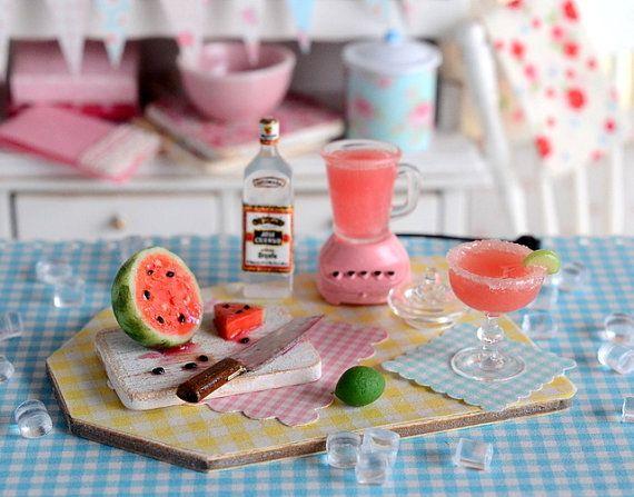 Miniature Making Watermelon Margaritas Set