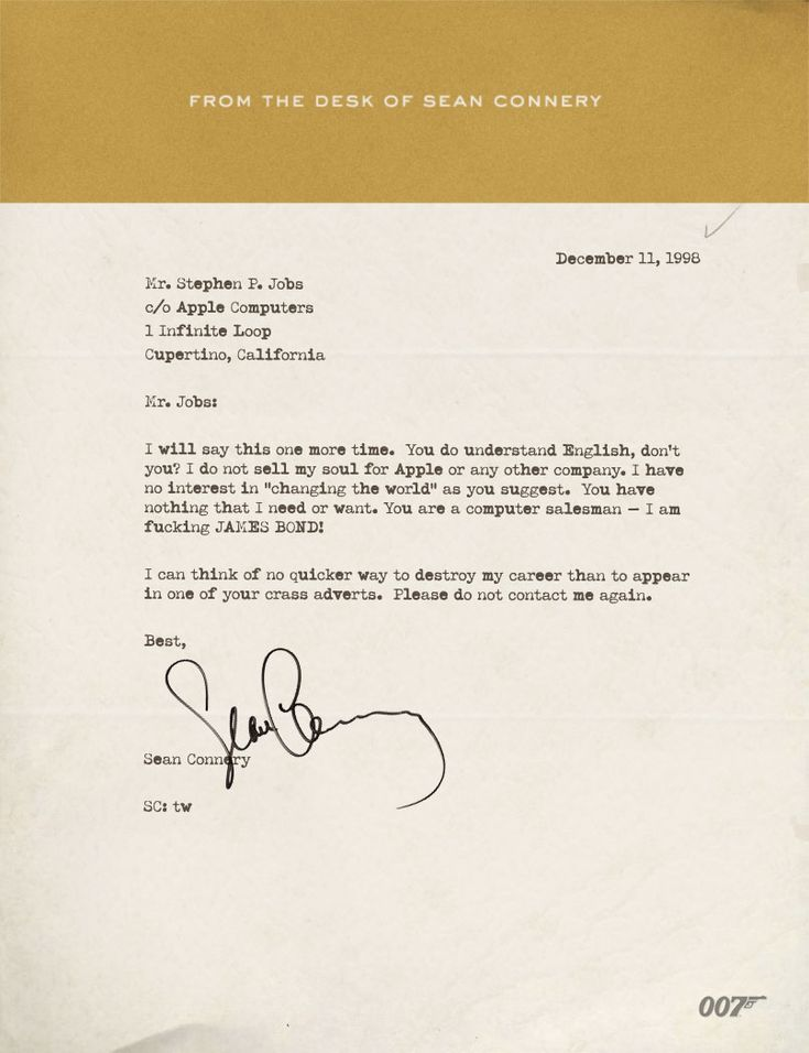 A letter from Sean Connery to Steve Jobs by Scoopertino