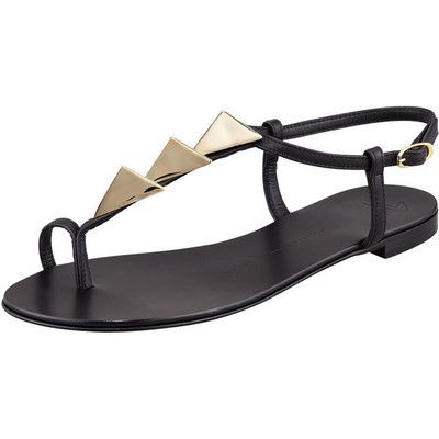 Alessandra Ambrosio style. Giuseppe Zanotti Triangle-Stud Flat Thong Sandal, Black. View this product here http://wheresthatstyle.com/products/12348-giuseppe-zanotti-triangle-stud-flat-thong-sandal-black
