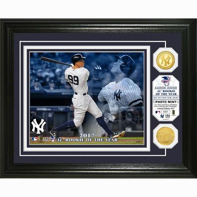 """New York Yankees Aaron Judge Highland Mint 2017 American League Rookie of the Year Award 13"""" x 16"""" Bronze Coin Photo Mint"""