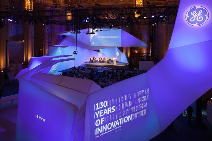 GEWorks (130 years of Innovation) in existing auditorium. (thincdesign.com)