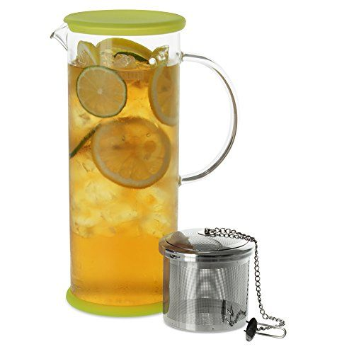 FORLIFE LUCENT Glass Iced Tea Jug with Capsule Infuser, 48-Ounce, Kiwi * Click image to review more details.