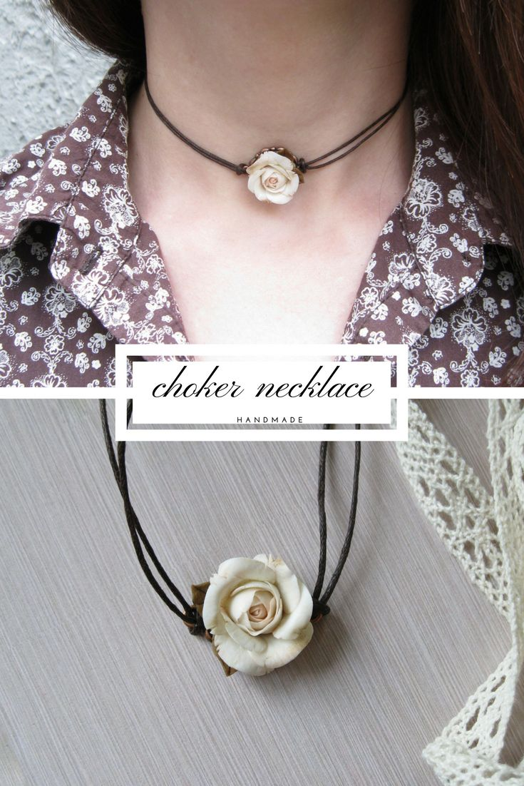 Beige rose necklace is a perfect jewelry for mother, sister, girlfriend, bridesmaid or made of honor. Flower is made of air dry polymer clay completely by hand.  #chokernecklace #chokers  #handmade #jewellery #rose